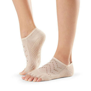 Toesox Luna Half Full Toe Grip Socks nude