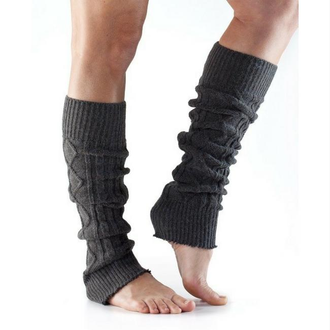 leg warmer toesox cable knit charcoal gray