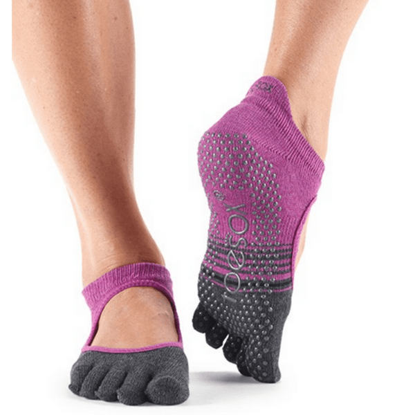 Bellarina Full Toe - Mulberry Stripe Grip Socks (Barre / Pilates)