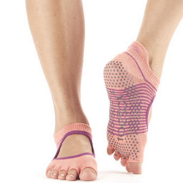 Bellarina Persimmon Stripe Half Toe - Grip Socks (Barre / Pilates)