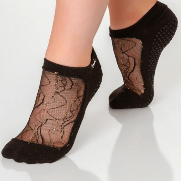 Twinkle Star Grip Sock - Black Gold (Barre / Pilates)