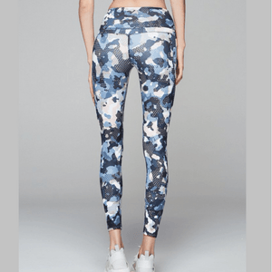 modern camo biona yoga tight by VARLEY in blue