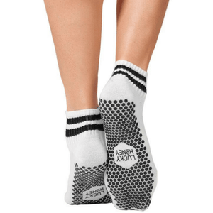 boyfriend lucky honey crew grip sock in white