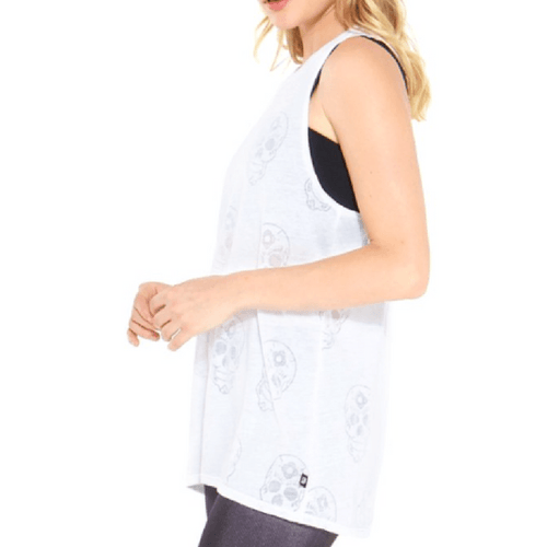 White Sugar Skull - Burnout Muscle Tank
