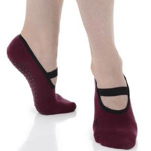 ballet grip socks in wine by great soles