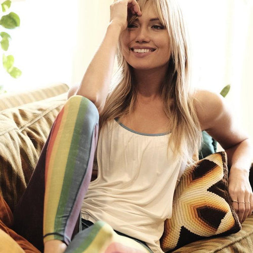 Retro Rainbow Barefoot Leggings