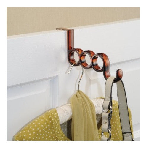 NEW Interdesign # 05320 Over Door Valet Hook - Scarf Purse Hangers - Brown Amber