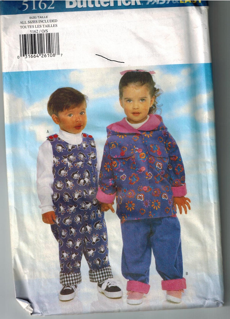 Used Butterick 5162 Sewing Pattern Toddlers Reversible Jacket Jumpsuit Pants Size 1 - 4 - Fast & Easy