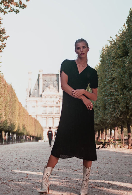 jardin des tuileries black sparkly velvet wrap dress