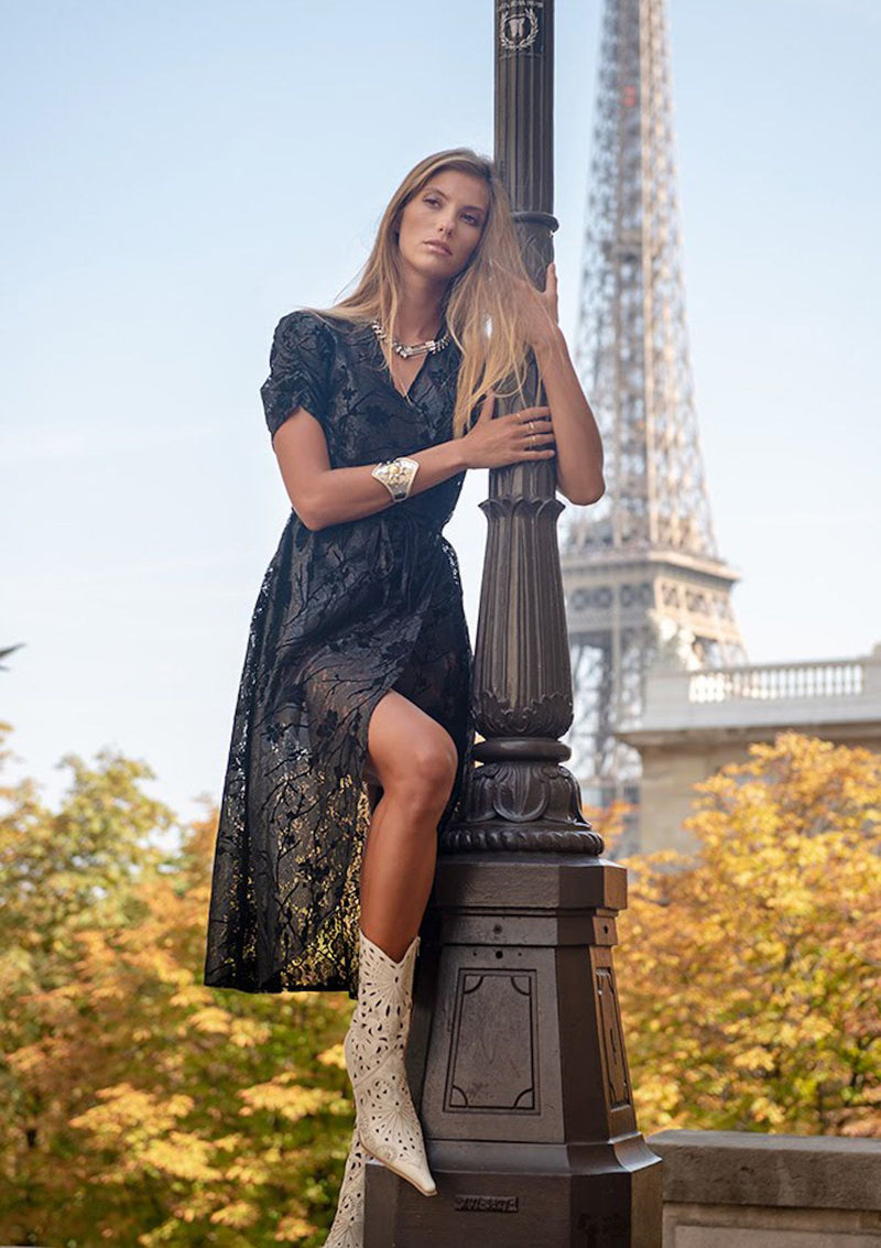 black floral velvet lace long wrap dress