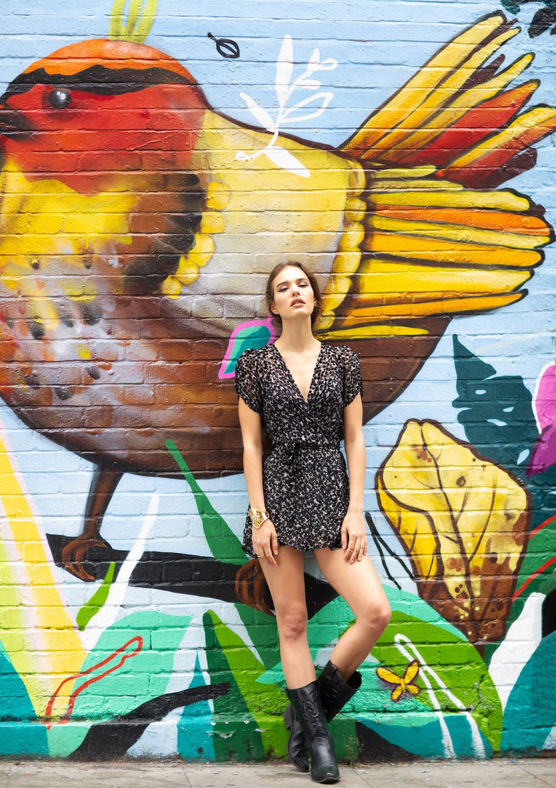 black floral velvet mini wrap dress