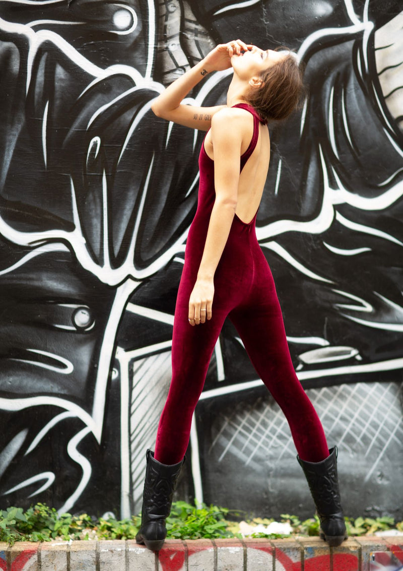 bordeaux velvet backless catsuit