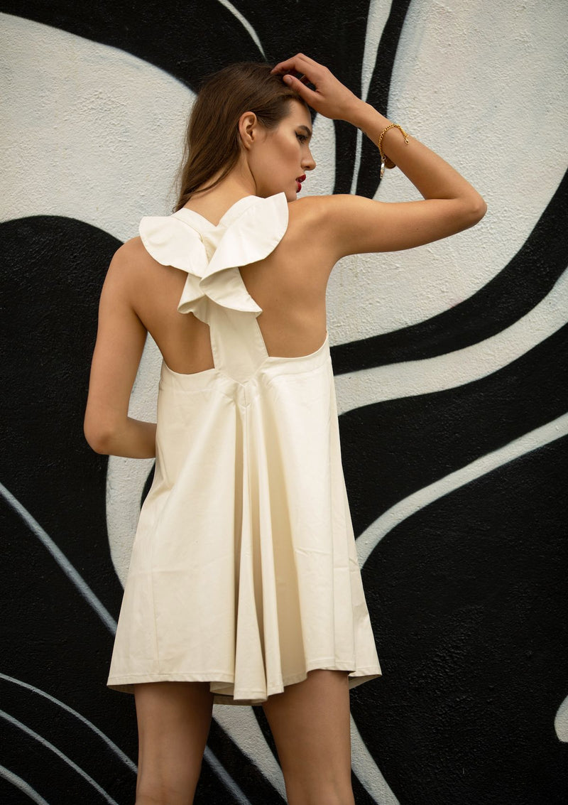 cream pleather babydoll dress