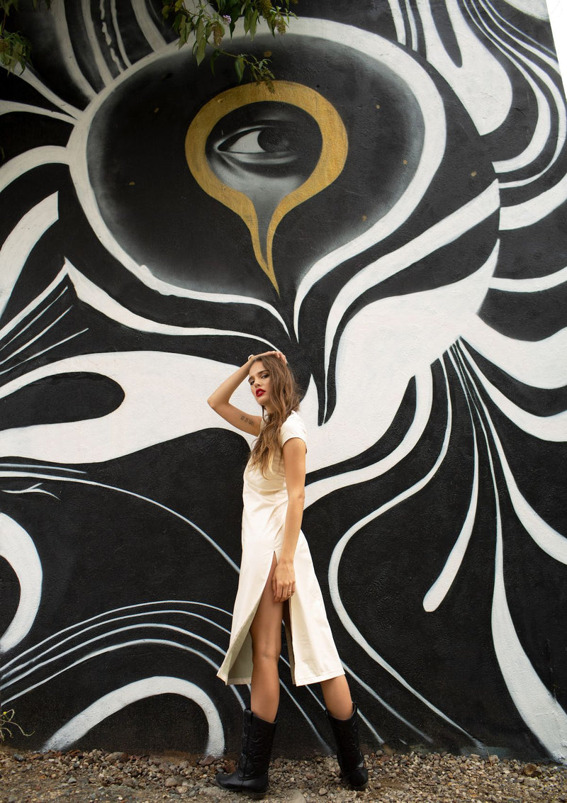 cream pleather dress
