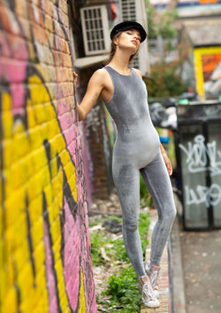 silver velvet backless catsuit