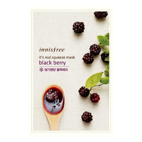 INNISFREE - It's Real Squeeze Mask - Black Berry | 悦诗风吟 INNISFREE - 真萃鲜润面膜 - 黑莓
