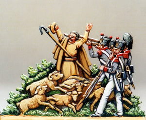 Shepherd and flock caught in the cross-fire, 1-sided - Glorious Empires-Historical Miniatures