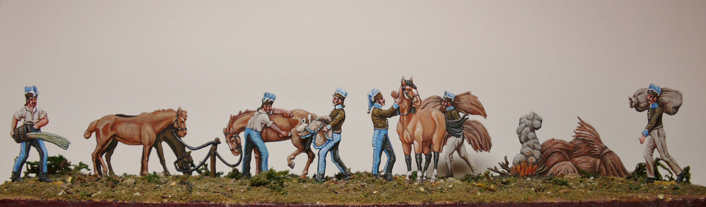 French Cavalry looking after horses, full set