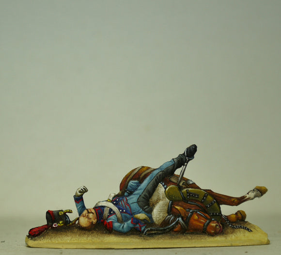 Train soldier and horse,dead - Glorious Empires-Historical Miniatures