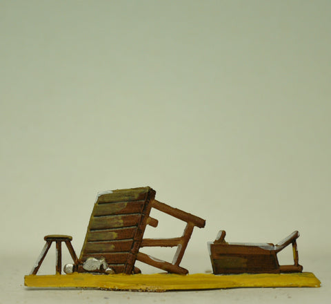 Overturned table and bench, 30mm