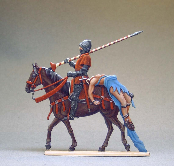 Swiss Knight with captured Burgundian Woman on horse - Glorious Empires-Historical Miniatures