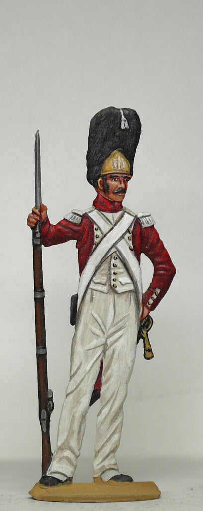 Grenadier on guard duty leaning on rifle