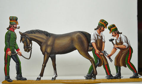 3 troopers shoeing horse