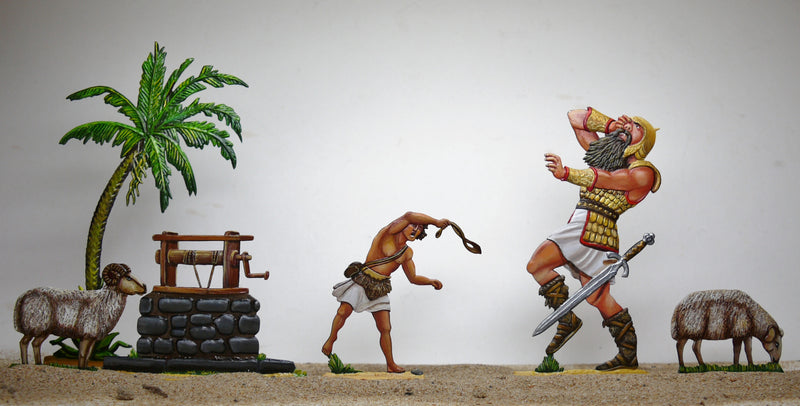 David fights Goliath (coloured) - Glorious Empires-Historical Miniatures
