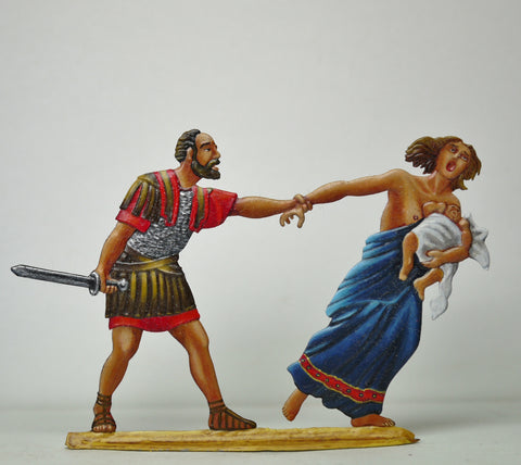 Roman Legionair stopping fleeing mother and child