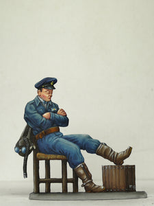 Fighter pilot asleep on chair - Glorious Empires-Historical Miniatures