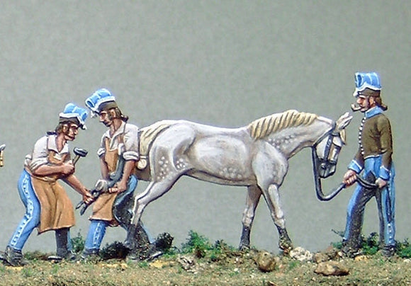 Blacksmiths shoeing horse  33.2/h - Glorious Empires-Historical Miniatures