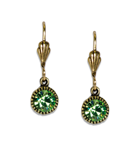 Anne Koplik Green Crystal Earrings
