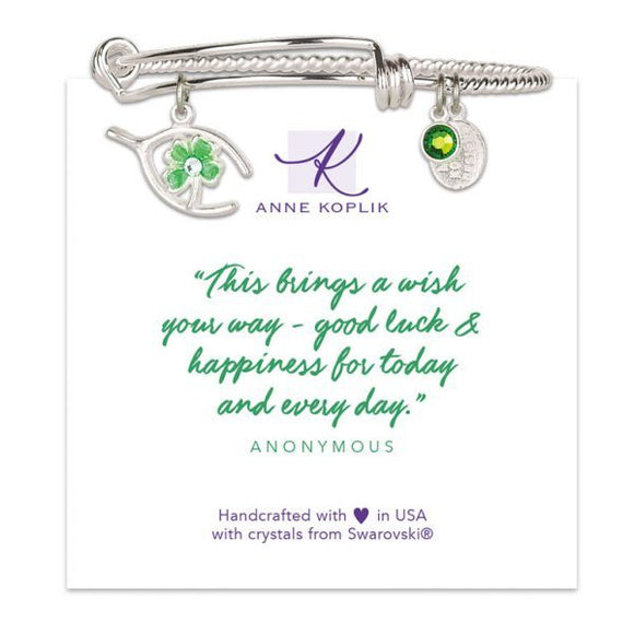 Anne Koplik Good Luck Silvertone Bangle Bracelet with Clover Wishbone Charm