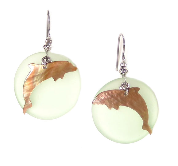 Green Dolphin Seaglass Earrings