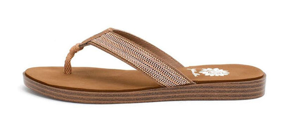 Yellow Box | DAINTY Gold Shimmer Strap Flip Flops