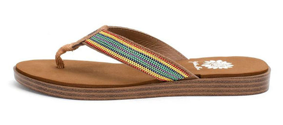 Yellow Box | DAINTY Rainbow Shimmer Stripe Flip Flops
