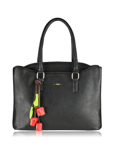 ESPE Devote Vegan Leather Women's Shoulder Tote with Flower Charm