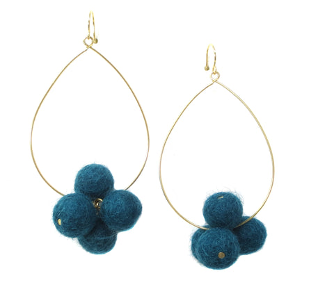YOCHI Goldtone Teardrop Hoop Pom Pom Earrings