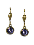 Anne Koplik Purple Crystal Earrings l Silver or Gold