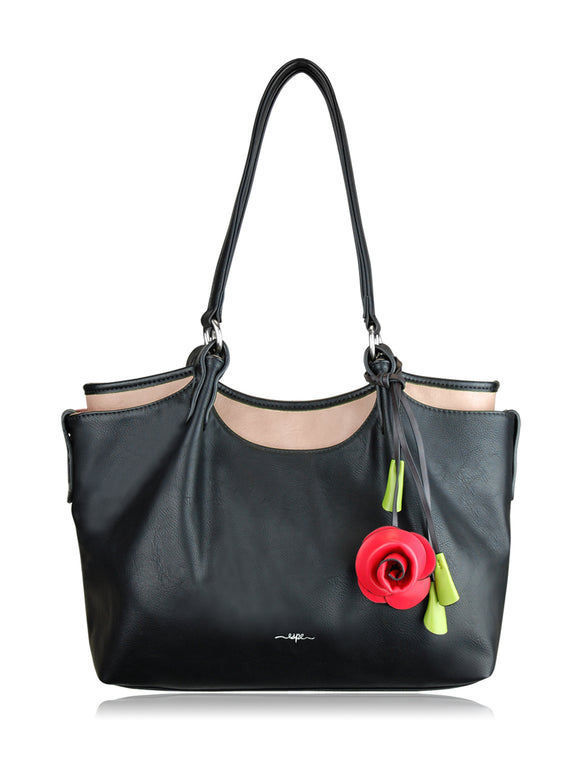 ESPE Harmony Two Tone Vegan Leather Handbag with Flower Charm