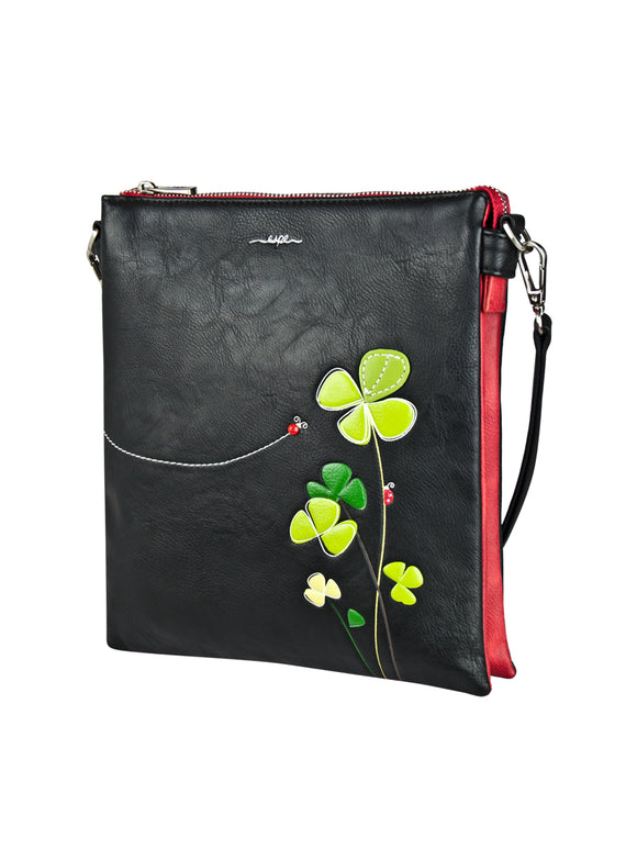 ESPE Lir Vegan Leather Messenger Handbag with Whimsical Ladybug Motif