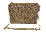 Kay Lee New York Animal Print Beaded Evening Handbag with Chain Strap | More Styles Inside