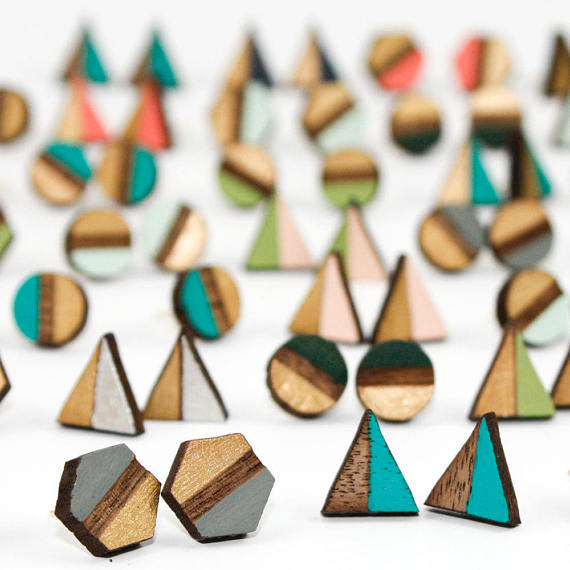 Wooden Geo Stud Earrings OAS1