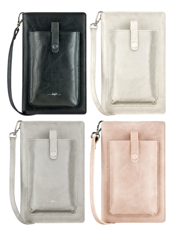 ESPE Pastel iSmart RFID-Protected Vegan Leather Smartphone Crossbody Phone Purse