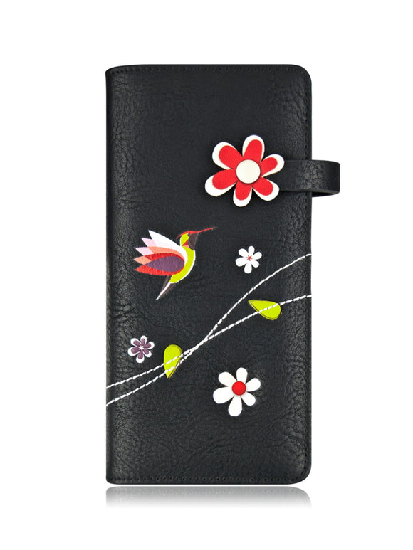 ESPE Libre Women's Vegan Leather Long Wallet with Bird and Blooms