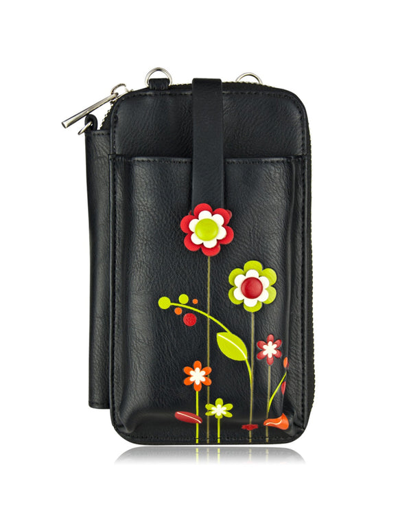 ESPE Gardenia Ladies Vegan Leather Smartphone Pouch with Cute Flower Blossom Motif