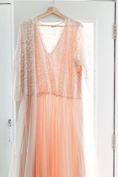 plus size pink blush wedding dress