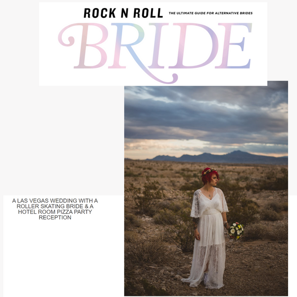 A LAS VEGAS WEDDING WITH A ROLLER SKATING BRIDE & A HOTEL ROOM PIZZA PARTY RECEPTION