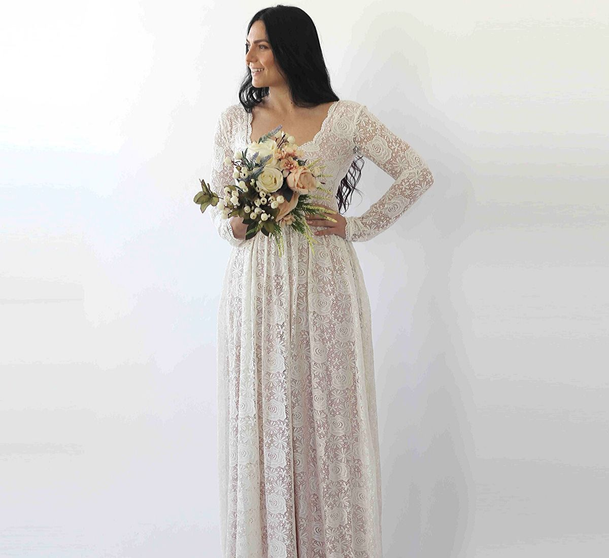 Curve & Plus size Ivory Square Neckline Vintage inspired Wedding Dress with Pockets, Pearl color Lace of roses Long Sleeves dress,  1265