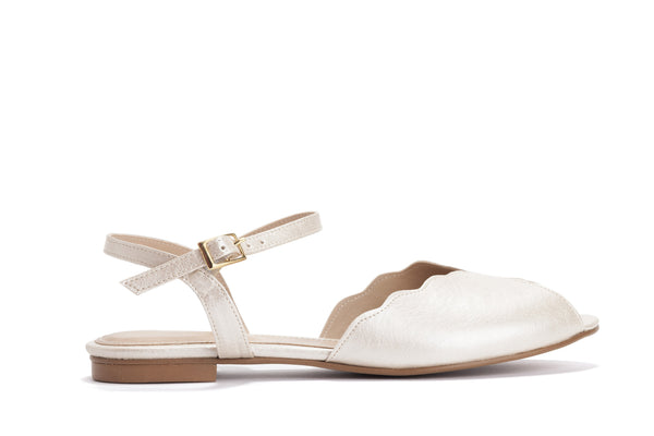 Pearl Vegan Bridal Flat Sandal, Vintage Inspired Summer Wedding Shoe